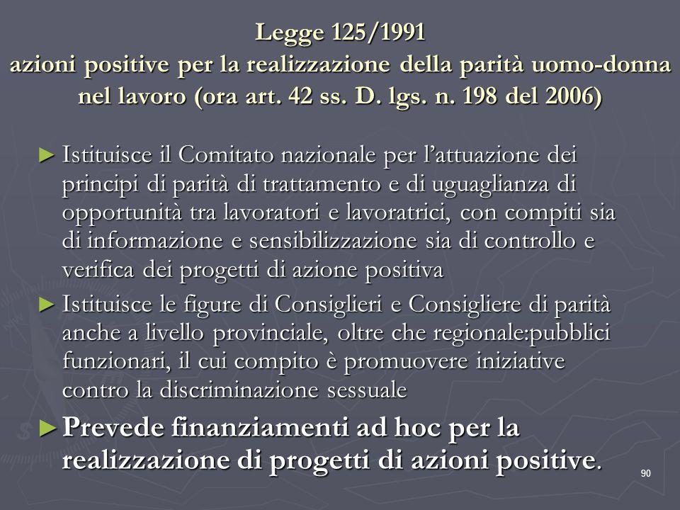 90 Legge 125/1991 azioni positive per la realizzazione della parità uomo-donna nel lavoro (ora art. 42 ss. D. lgs. n. 198 del 2006) Istituisce il Comi