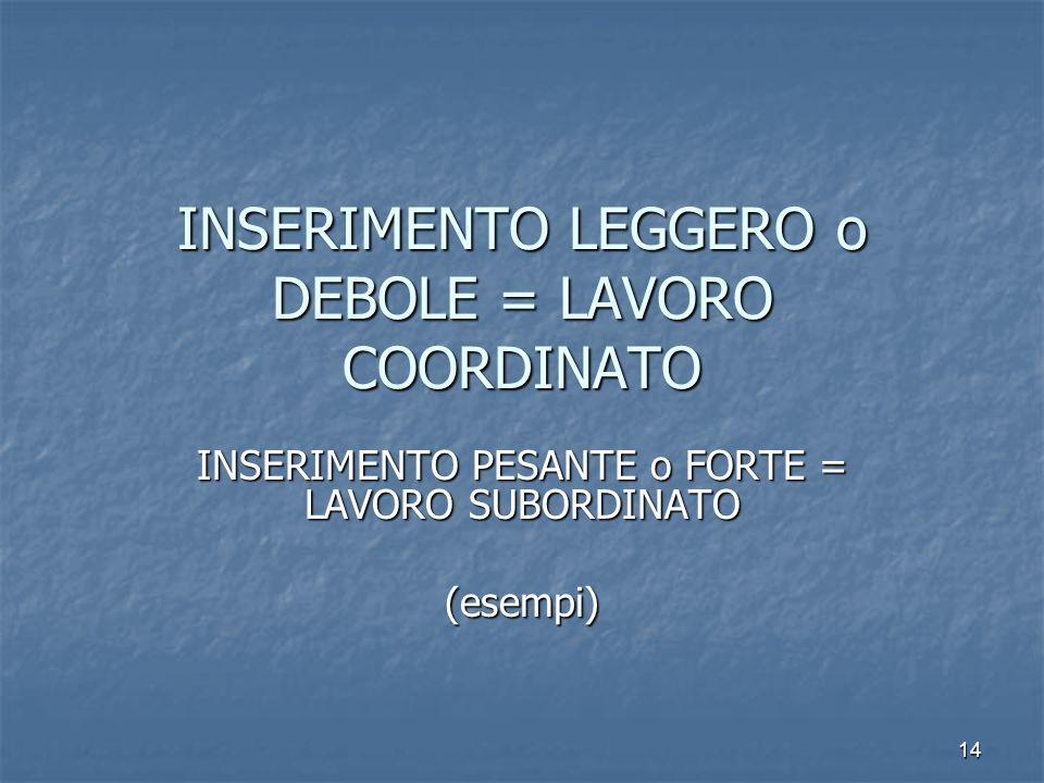 14 INSERIMENTO LEGGERO o DEBOLE = LAVORO COORDINATO INSERIMENTO PESANTE o FORTE = LAVORO SUBORDINATO (esempi)