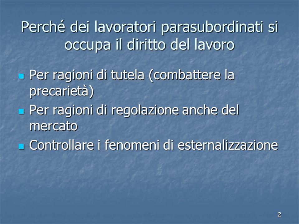 2 Perché dei lavoratori parasubordinati si occupa il diritto del lavoro Per ragioni di tutela (combattere la precarietà) Per ragioni di tutela (combat
