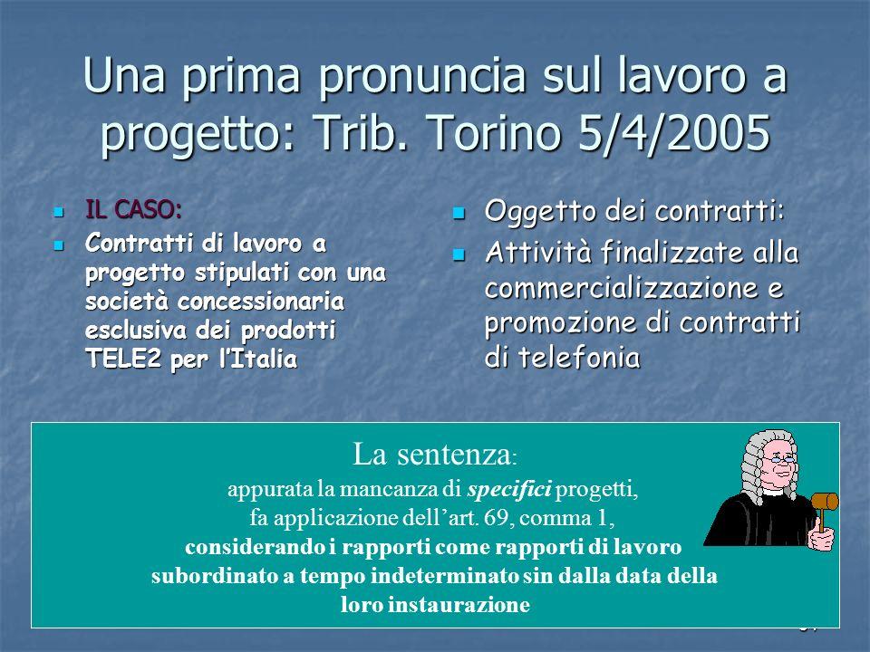 34 Una prima pronuncia sul lavoro a progetto: Trib. Torino 5/4/2005 IL CASO: IL CASO: Contratti di lavoro a progetto stipulati con una società concess