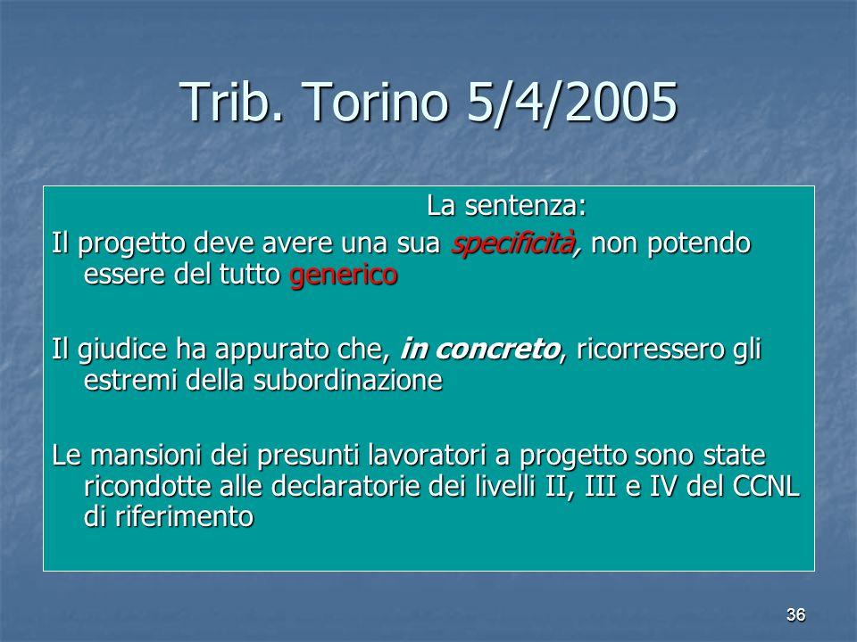 36 Trib. Torino 5/4/2005 La sentenza: La sentenza: Il progetto deve avere una sua specificità, non potendo essere del tutto generico Il giudice ha app