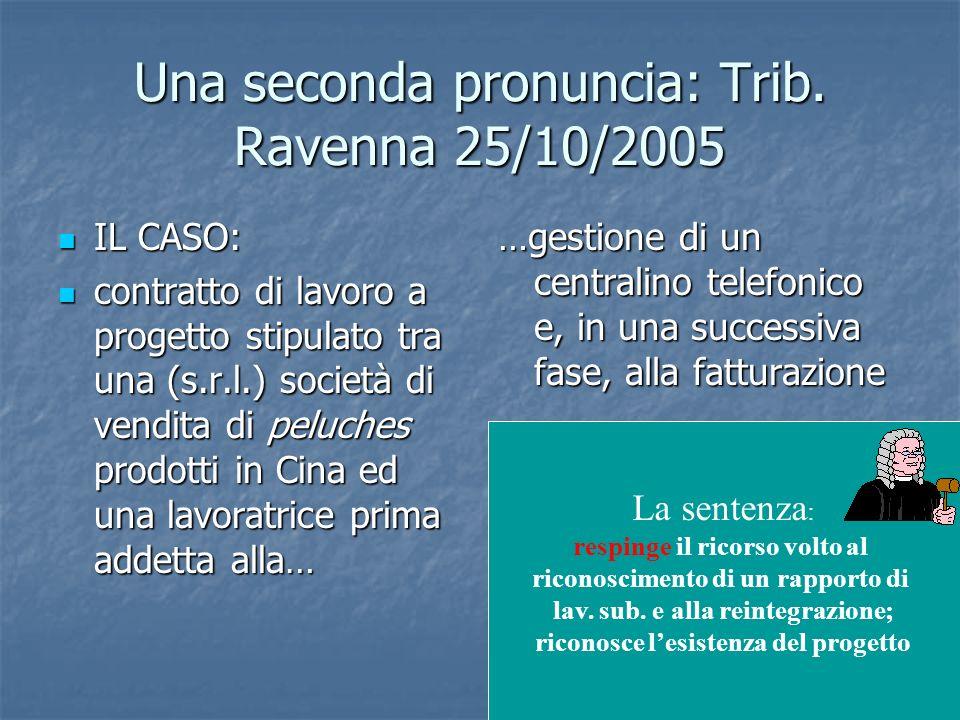 37 Una seconda pronuncia: Trib. Ravenna 25/10/2005 IL CASO: IL CASO: contratto di lavoro a progetto stipulato tra una (s.r.l.) società di vendita di p