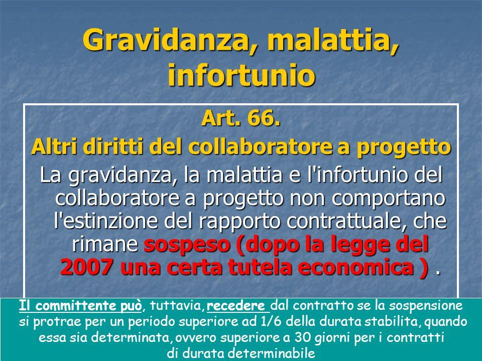 55 Gravidanza, malattia, infortunio Art. 66.