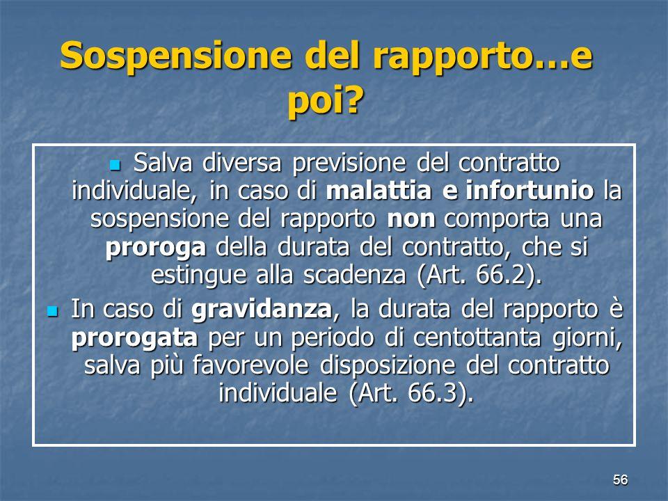 56 Sospensione del rapporto…e poi? Salva diversa previsione del contratto individuale, in caso di malattia e infortunio la sospensione del rapporto no