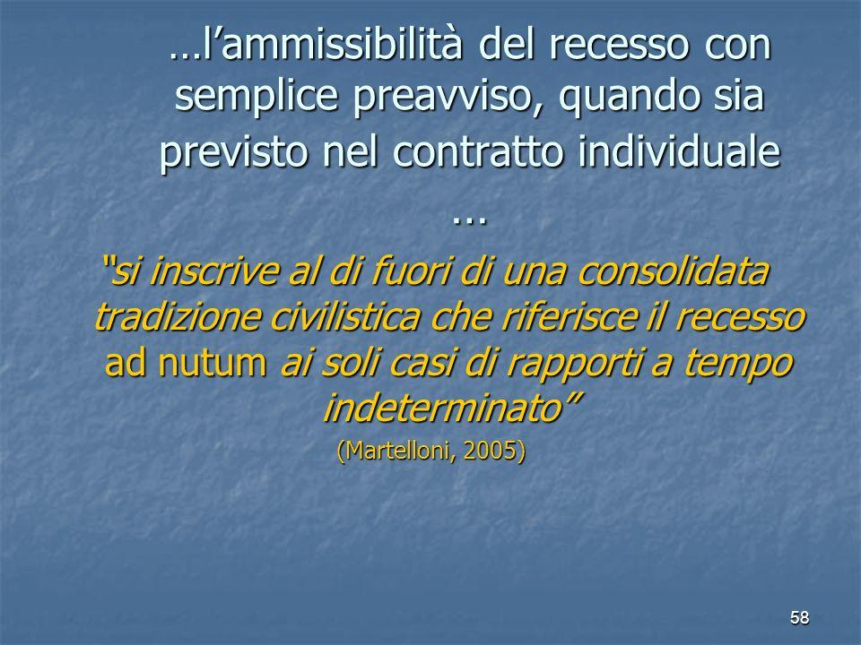 58 …lammissibilità del recesso con semplice preavviso, quando sia previsto nel contratto individuale … si inscrive al di fuori di una consolidata trad