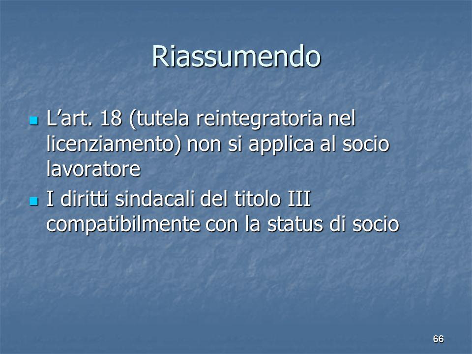 Riassumendo Lart. 18 (tutela reintegratoria nel licenziamento) non si applica al socio lavoratore Lart. 18 (tutela reintegratoria nel licenziamento) n