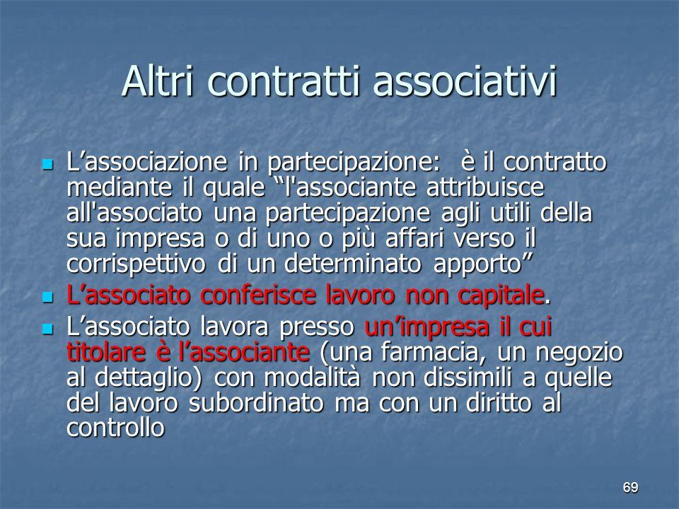 69 Altri contratti associativi Lassociazione in partecipazione: è il contratto mediante il quale l'associante attribuisce all'associato una partecipaz
