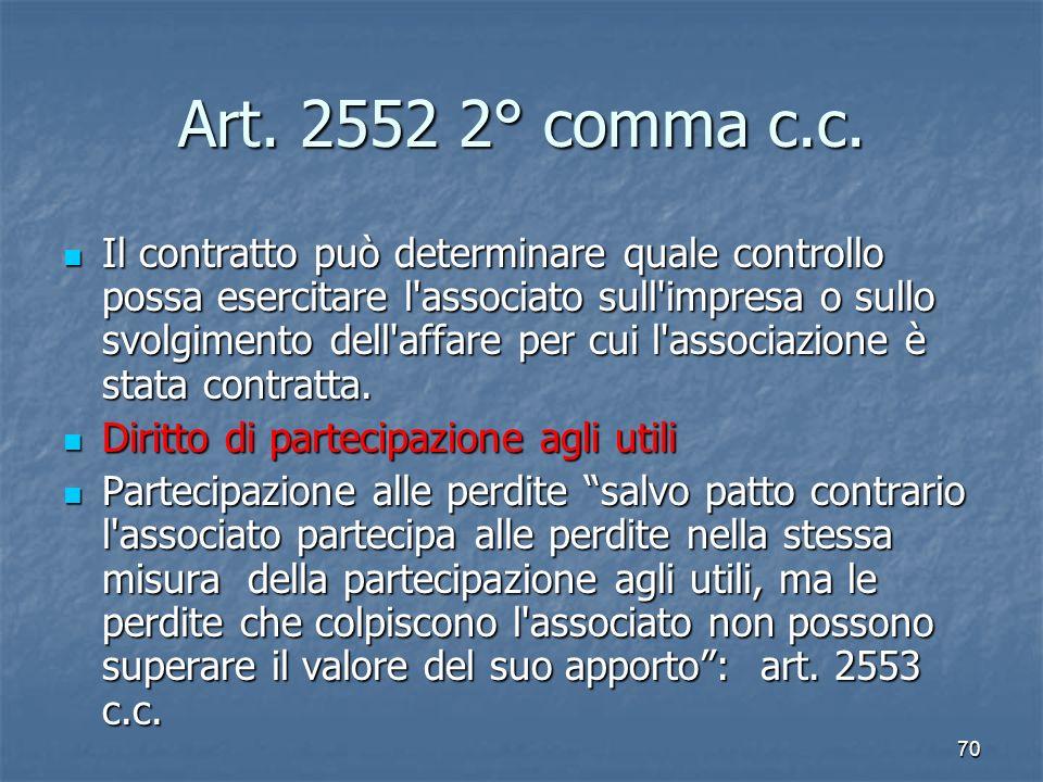 70 Art. 2552 2° comma c.c. Il contratto può determinare quale controllo possa esercitare l'associato sull'impresa o sullo svolgimento dell'affare per