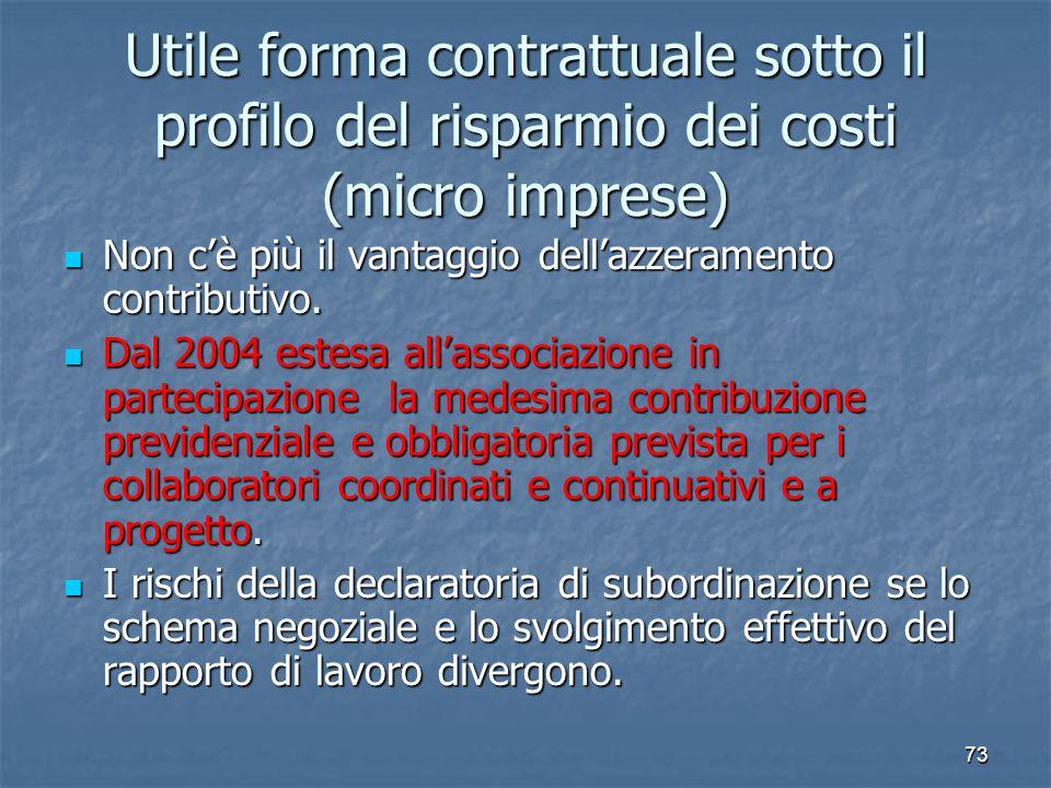 73 Utile forma contrattuale sotto il profilo del risparmio dei costi (micro imprese) Non cè più il vantaggio dellazzeramento contributivo. Non cè più