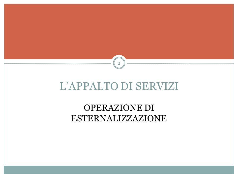 LAPPALTO DI SERVIZI OPERAZIONE DI ESTERNALIZZAZIONE 2