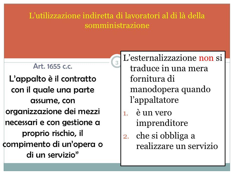 Lutilizzazione indiretta di lavoratori al di là della somministrazione Lesternalizzazione non si traduce in una mera fornitura di manodopera quando lappaltatore 1.