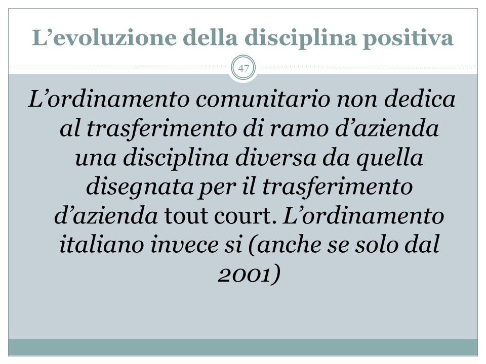 Il caso Ansaldo II (PRETURA DI GENOVA, 22 ottobre 1998) La distinzione tra la cessione di ramo dazienda, cui consegue lapplicazione dellart. 2112 c.c.
