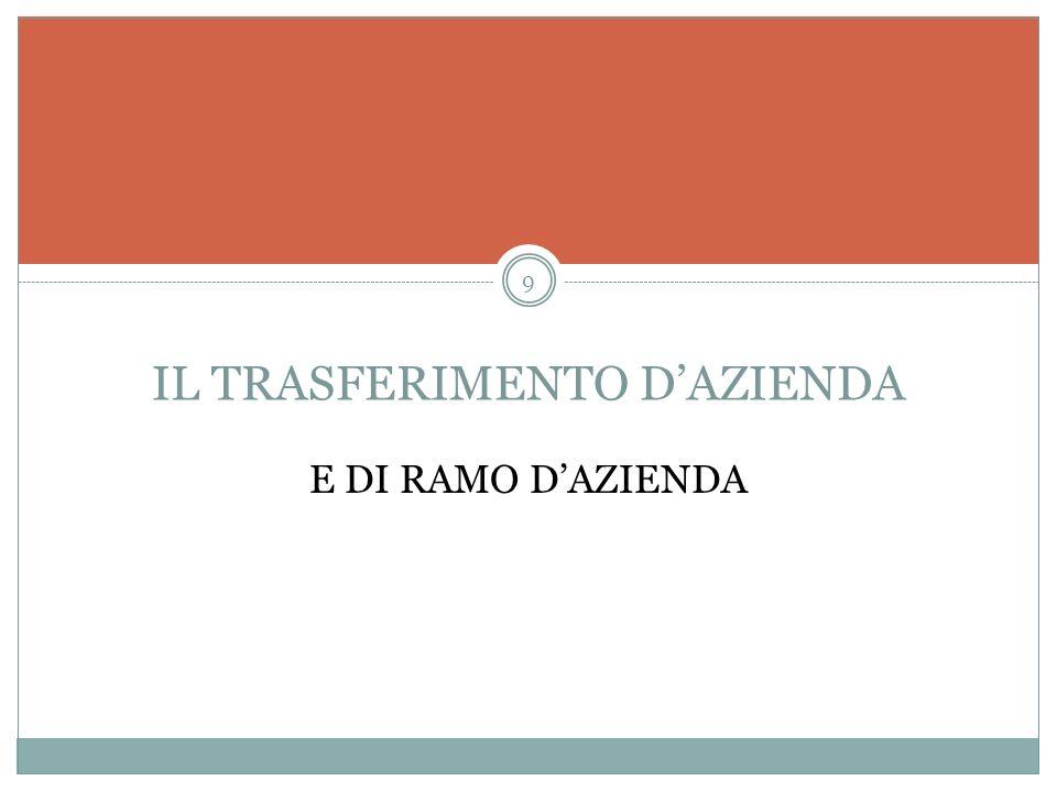 IL TRASFERIMENTO DAZIENDA E DI RAMO DAZIENDA 9