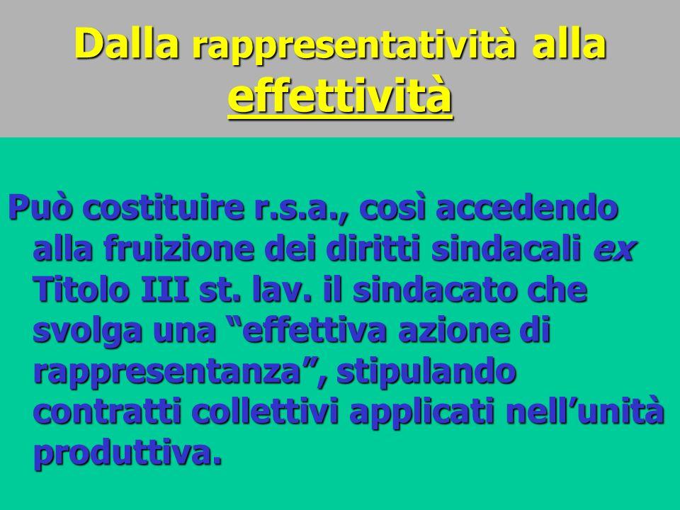 Dalla rappresentatività alla effettività Può costituire r.s.a., così accedendo alla fruizione dei diritti sindacali ex Titolo III st. lav. il sindacat