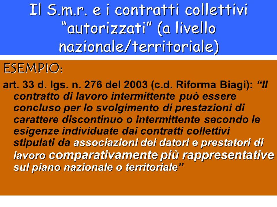 Il S.m.r. e i contratti collettivi autorizzati (a livello nazionale/territoriale) ESEMPIO: associazioni dei datori e prestatori di lavoro comparativam
