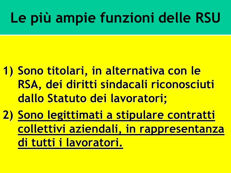 Le più ampie funzioni delle RSU 1)Sono titolari, in alternativa con le RSA, dei diritti sindacali riconosciuti dallo Statuto dei lavoratori; 2)Sono le