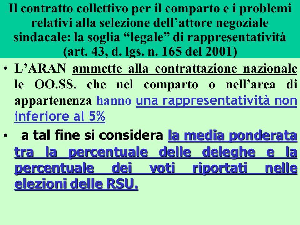 Il contratto collettivo per il comparto e i problemi relativi alla selezione dellattore negoziale sindacale: la soglia legale di rappresentatività (ar