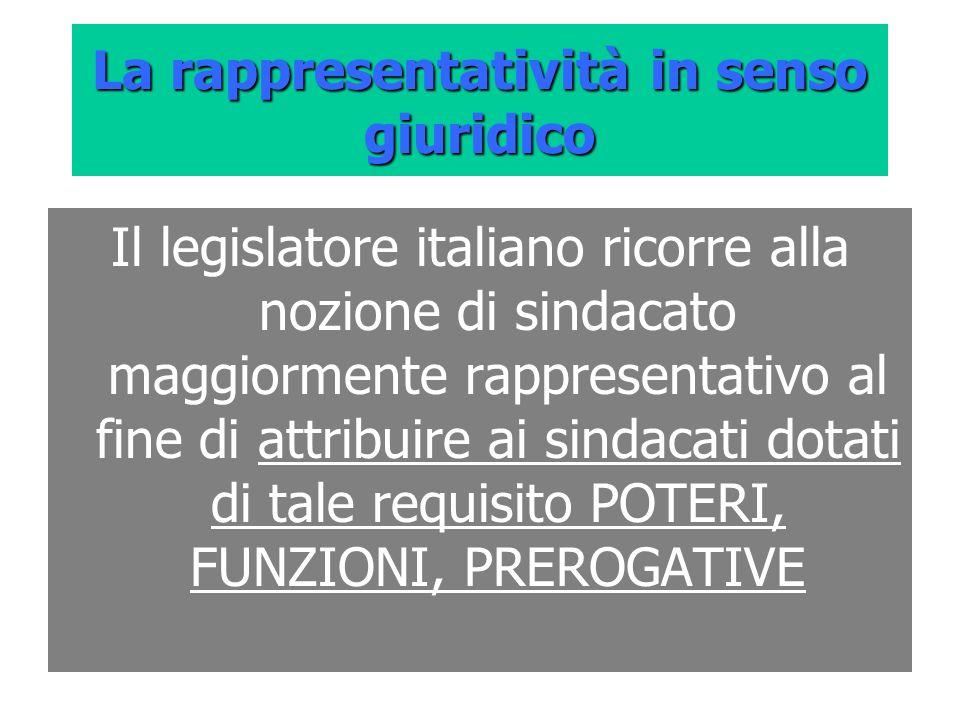 La rappresentatività in senso giuridico Il legislatore italiano ricorre alla nozione di sindacato maggiormente rappresentativo al fine di attribuire a
