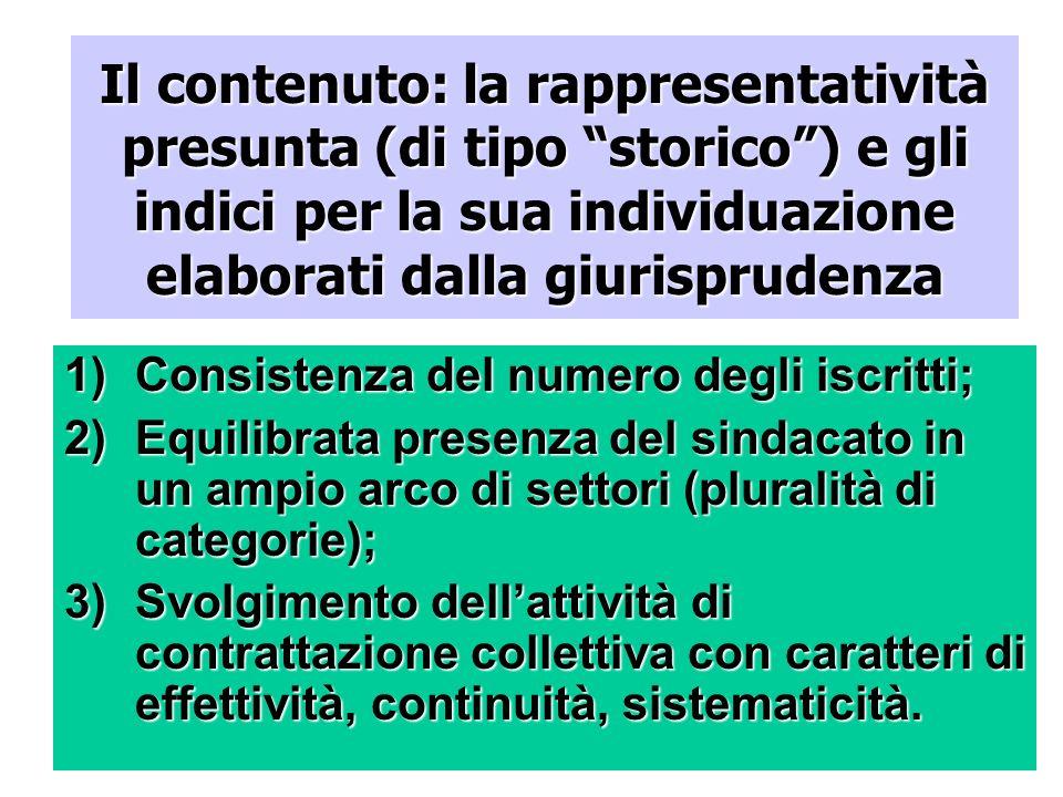 Il contenuto: la rappresentatività presunta (di tipo storico) e gli indici per la sua individuazione elaborati dalla giurisprudenza 1)Consistenza del