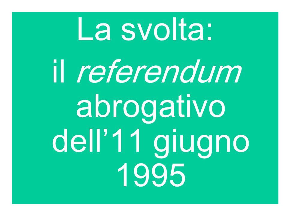 La svolta: il referendum abrogativo dell11 giugno 1995