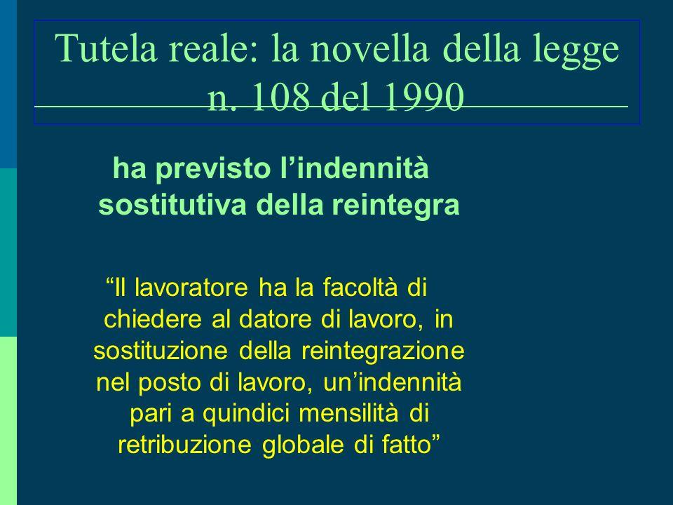 La sanzione risarcitoria accessoria alla TUTELA REALE ( art. 18 l. 300/1970) Il giudice con la sentenza di cui al primo comma condanna il datore di la