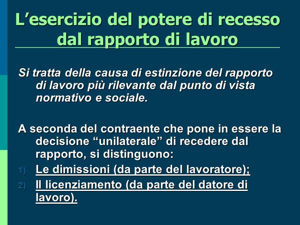 Lesercizio del potere di recesso dal rapporto di lavoro Si tratta della causa di estinzione del rapporto di lavoro più rilevante dal punto di vista normativo e sociale.