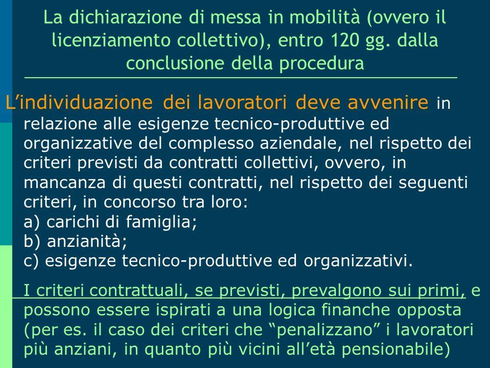 La procedura per la dichiarazione di mobilità, propedeutica alla decisione di licenziare La seconda fase c.d. AMMINISTRATIVA (eventuale, da esaurirsi