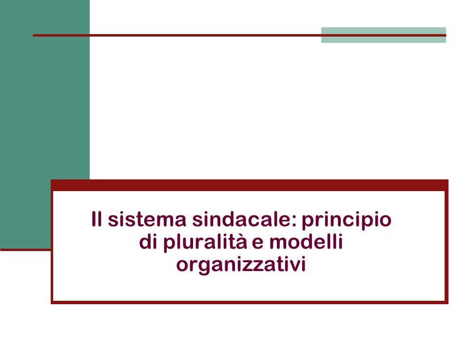 Il sistema sindacale: principio di pluralità e modelli organizzativi