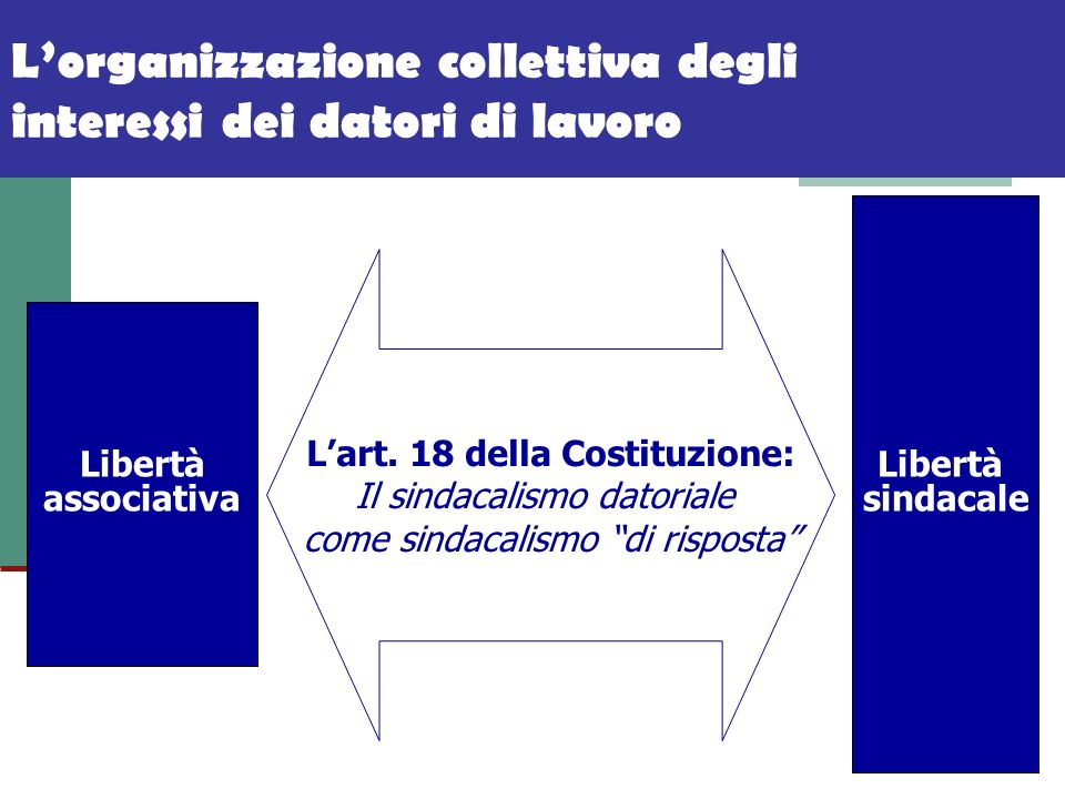 Lorganizzazione collettiva degli interessi dei datori di lavoro Libertà associativa Libertà sindacale Lart. 18 della Costituzione: Il sindacalismo dat