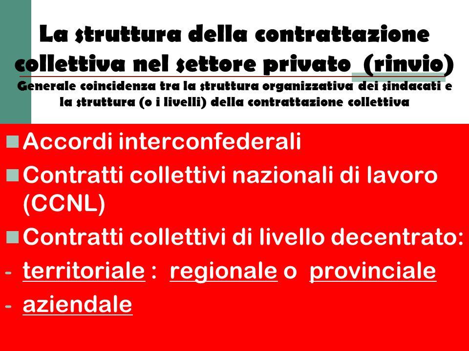 La struttura della contrattazione collettiva nel settore privato (rinvio) Generale coincidenza tra la struttura organizzativa dei sindacati e la strut