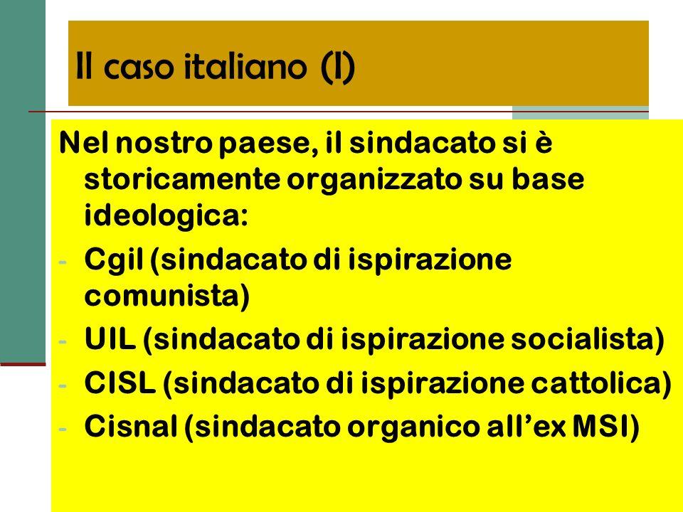 Il caso italiano (II) Il processo di de-ideologizzazione ha condotto ad un parziale affrancamento dal pluralismo ideologico, con conseguente tendenza alla unitarietà (quantomeno dazione) dellorganizzazione sindacale, con il coinvolgimento, oltre che dei tre sindacati tradizionali anche dellUGL (fusione fra Cisnal e sigle sindacali minori)