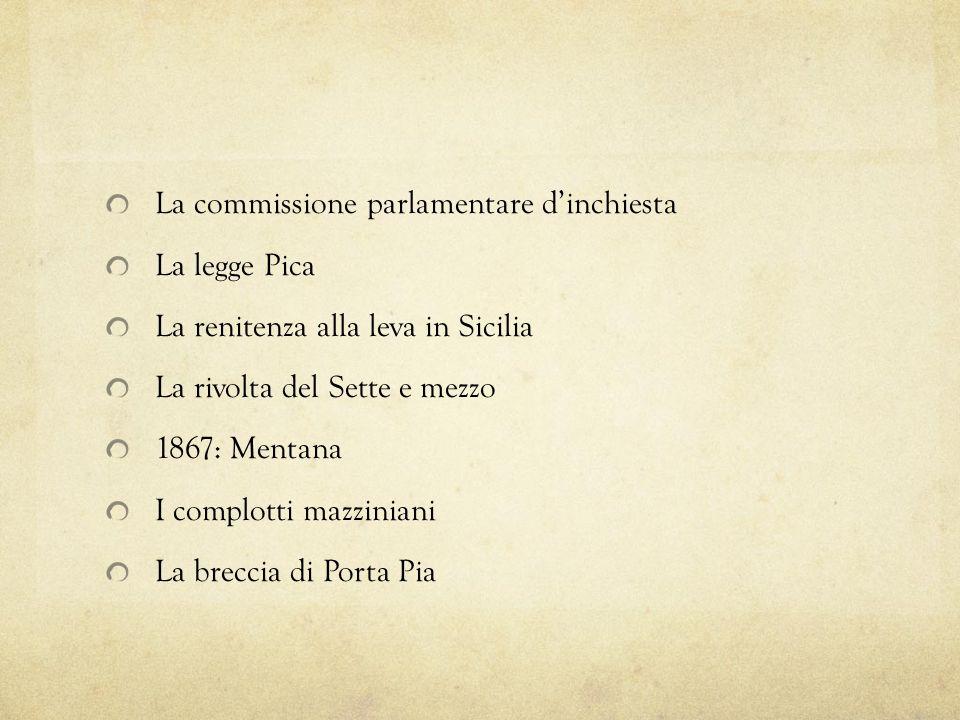 La commissione parlamentare dinchiesta La legge Pica La renitenza alla leva in Sicilia La rivolta del Sette e mezzo 1867: Mentana I complotti mazzinia