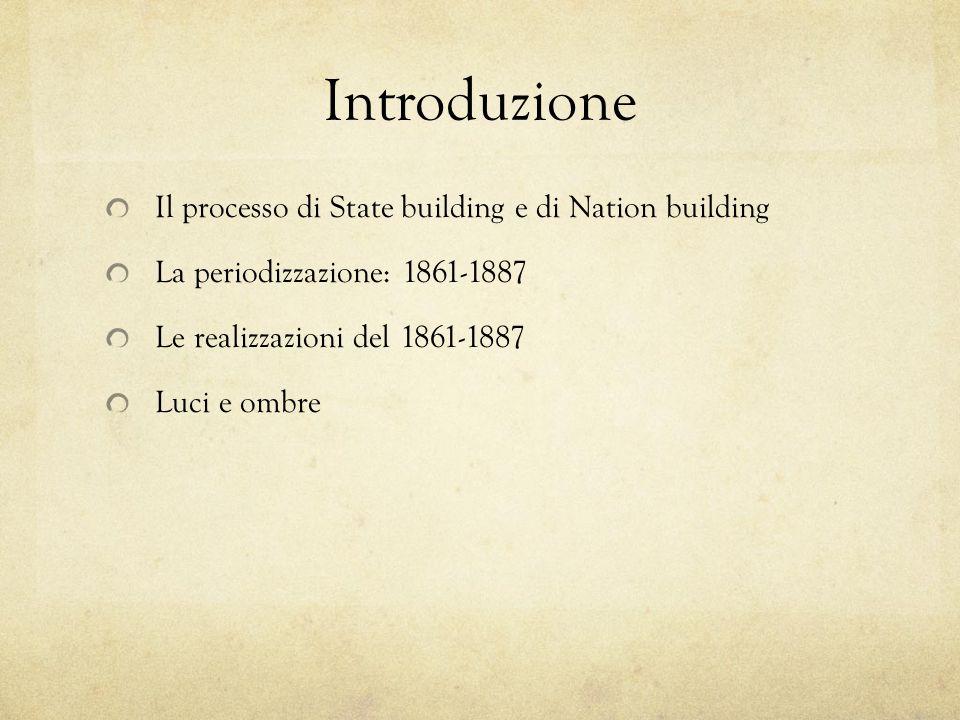 Introduzione Il processo di State building e di Nation building La periodizzazione: 1861-1887 Le realizzazioni del 1861-1887 Luci e ombre