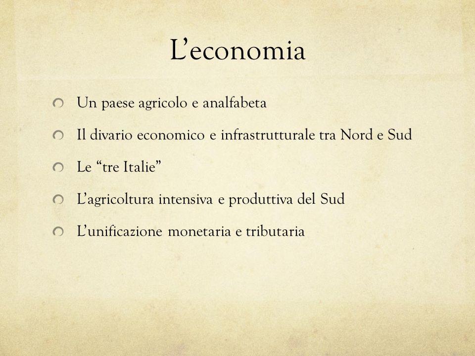 Leconomia Un paese agricolo e analfabeta Il divario economico e infrastrutturale tra Nord e Sud Le tre Italie Lagricoltura intensiva e produttiva del