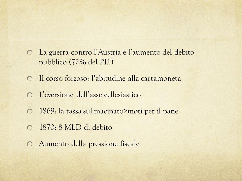 1875: pareggio del bulancio Lapertura di credito in Europa La politica doganale liberista I trattati commerciali Vantaggi per lagricoltura da esportazione Romeo: lintegrazione nel contesto economico europeo e laccumulazione di capitali