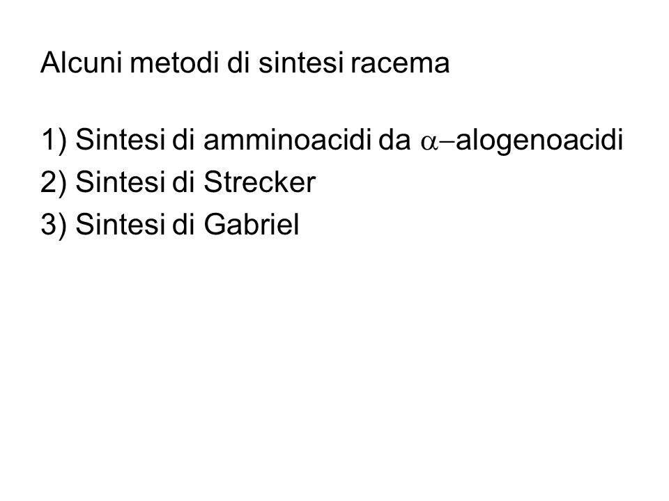 Alcuni metodi di sintesi racema 1) Sintesi di amminoacidi da alogenoacidi 2) Sintesi di Strecker 3) Sintesi di Gabriel