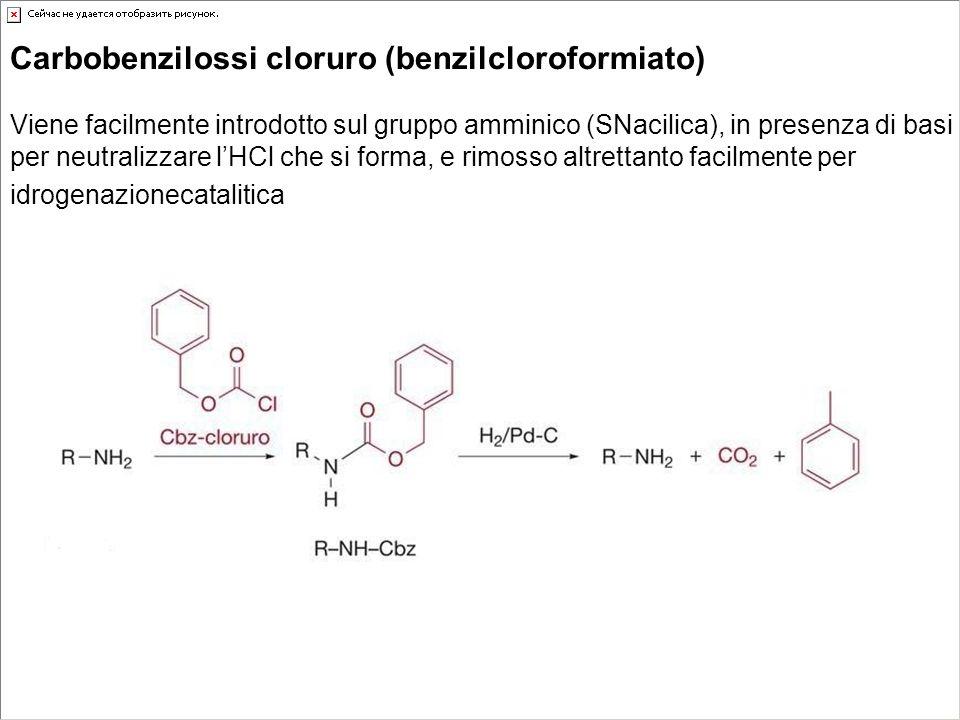 Carbobenzilossi cloruro (benzilcloroformiato) Viene facilmente introdotto sul gruppo amminico (SNacilica), in presenza di basi per neutralizzare lHCl