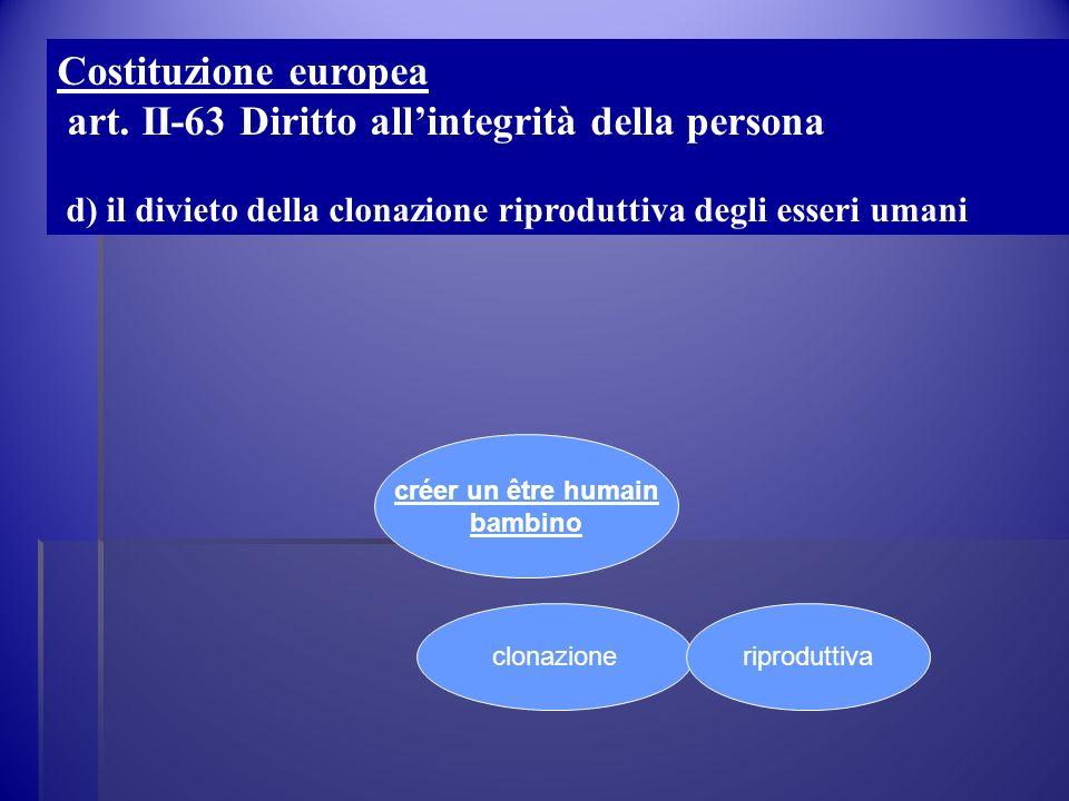 créer un être humain bambino clonazioneriproduttiva Costituzione europea art. II-63 Diritto allintegrità della persona d) il divieto della clonazione