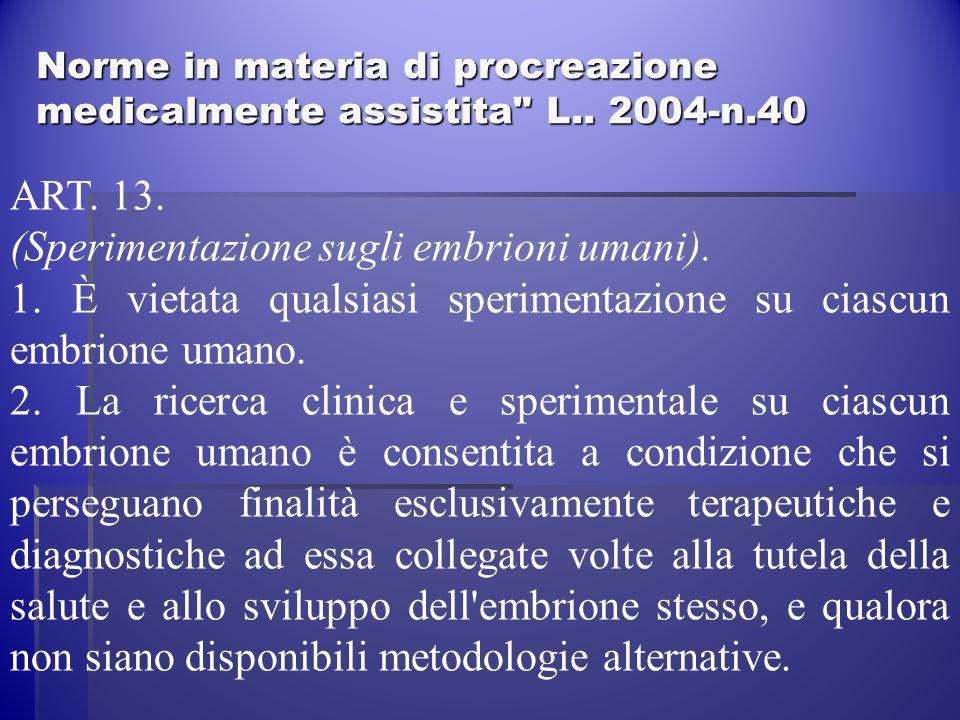Norme in materia di procreazione medicalmente assistita