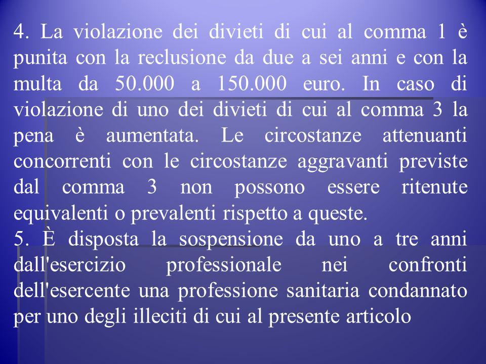 4. La violazione dei divieti di cui al comma 1 è punita con la reclusione da due a sei anni e con la multa da 50.000 a 150.000 euro. In caso di violaz