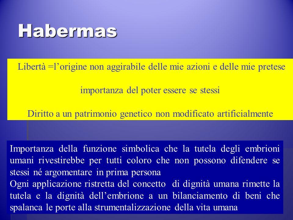Habermas Libertà =lorigine non aggirabile delle mie azioni e delle mie pretese importanza del poter essere se stessi Diritto a un patrimonio genetico