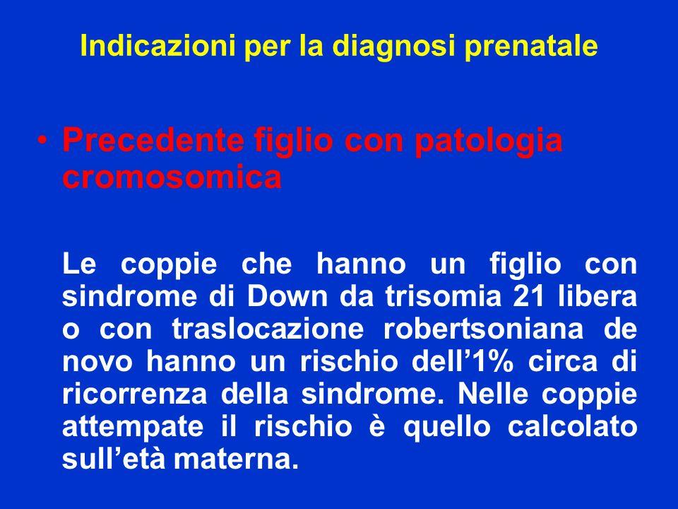 Precedente figlio con patologia cromosomica Le coppie che hanno un figlio con sindrome di Down da trisomia 21 libera o con traslocazione robertsoniana