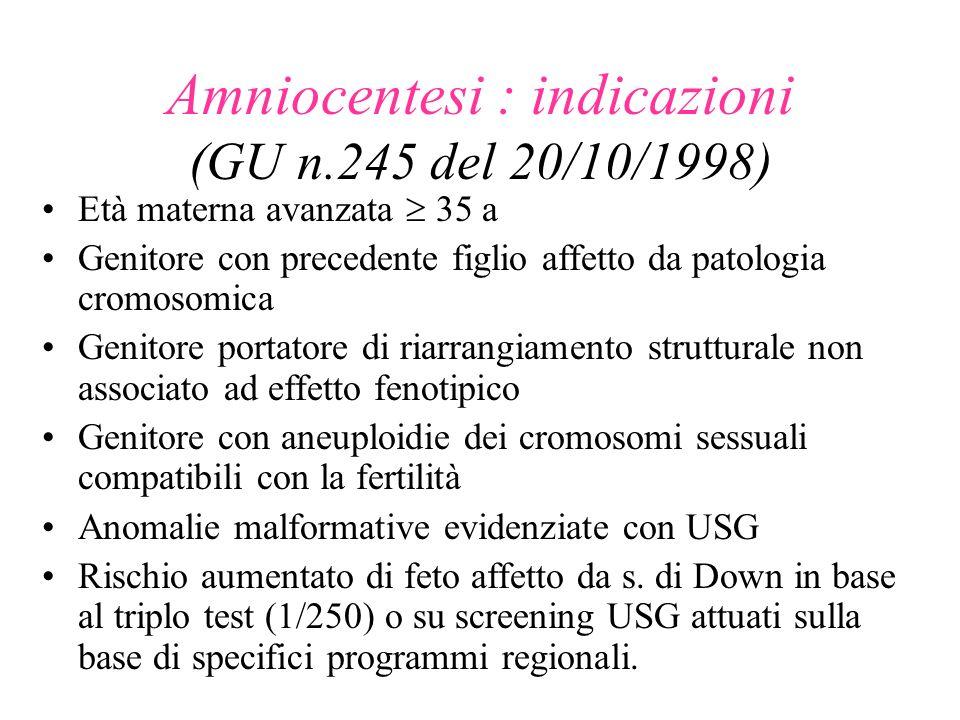 Amniocentesi : indicazioni (GU n.245 del 20/10/1998) Età materna avanzata 35 a Genitore con precedente figlio affetto da patologia cromosomica Genitor