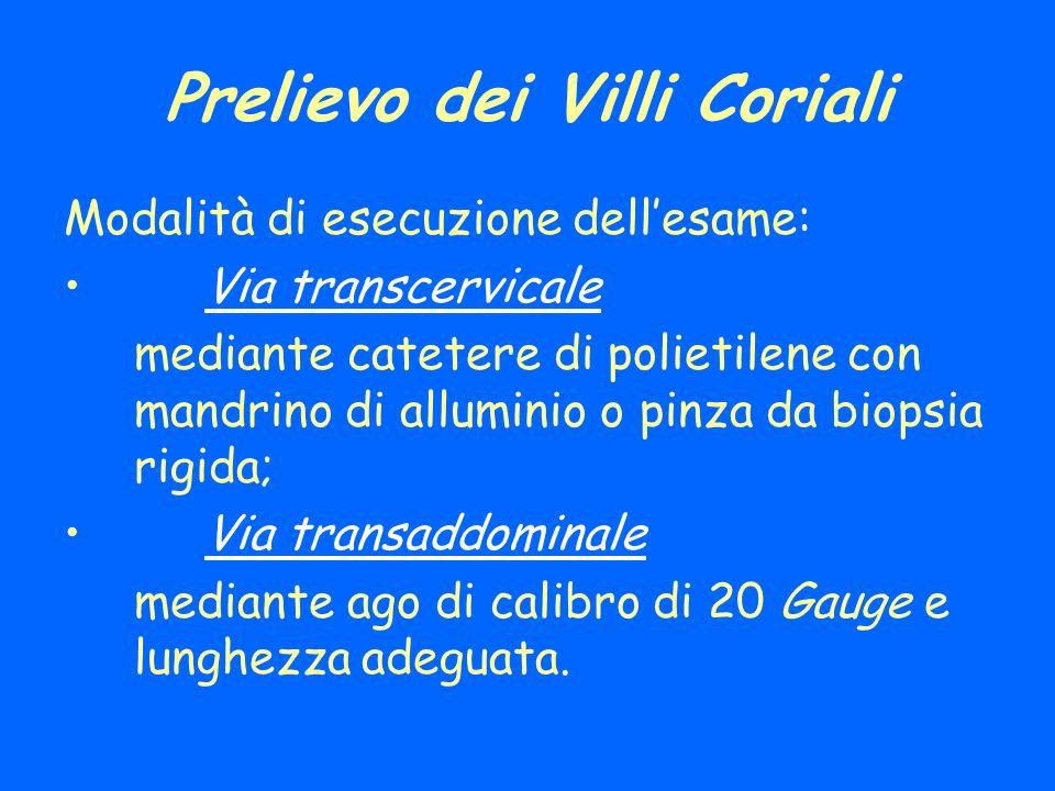 Prelievo dei Villi Coriali Modalità di esecuzione dellesame: Via transcervicale mediante catetere di polietilene con mandrino di alluminio o pinza da