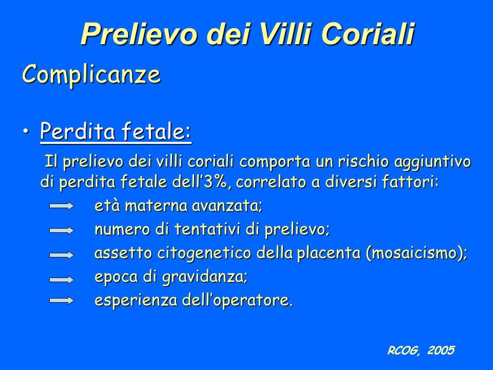 Complicanze Perdita fetale:Perdita fetale: Il prelievo dei villi coriali comporta un rischio aggiuntivo di perdita fetale dell3%, correlato a diversi