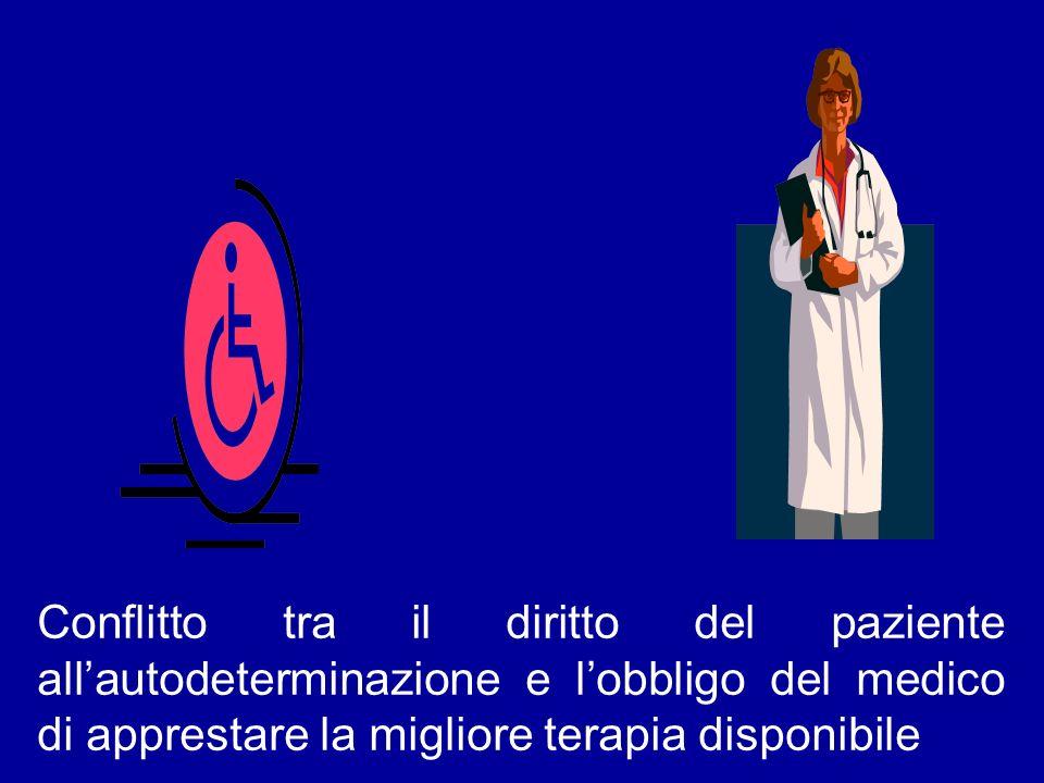 Conflitto tra il diritto del paziente allautodeterminazione e lobbligo del medico di apprestare la migliore terapia disponibile