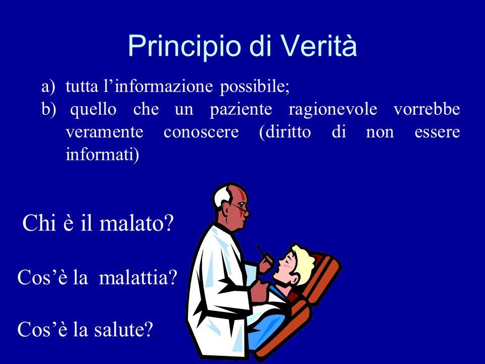 Principio di Verità a)tutta linformazione possibile; b) quello che un paziente ragionevole vorrebbe veramente conoscere (diritto di non essere informa