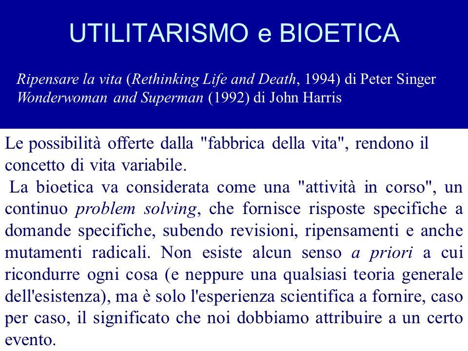 UTILITARISMO e BIOETICA Ripensare la vita (Rethinking Life and Death, 1994) di Peter Singer Wonderwoman and Superman (1992) di John Harris Le possibil