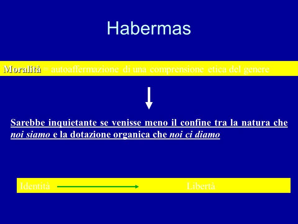 Habermas Sarebbe inquietante se venisse meno il confine tra la natura che noi siamo e la dotazione organica che noi ci diamo Moralità Moralità = autoa