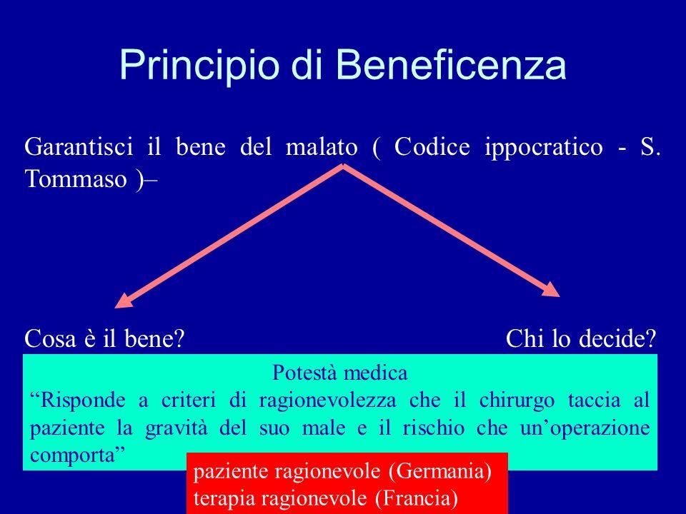 Principio di Beneficenza Garantisci il bene del malato ( Codice ippocratico - S. Tommaso )– Cosa è il bene? Chi lo decide? Potestà medica Risponde a c